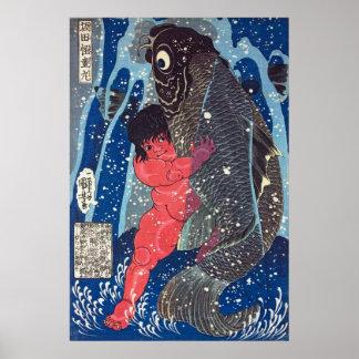 De worstelingen van kaidō-Maru van Sakata met een Poster