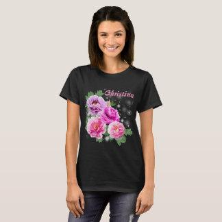 De zachte bloemen doorboren paarse pioenen met t shirt