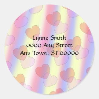 De zachte Harten van de Pastelkleur -- Ronde Sticker