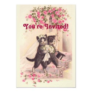 De Zachte Roze Uitnodiging van de vintage Katten Kaart