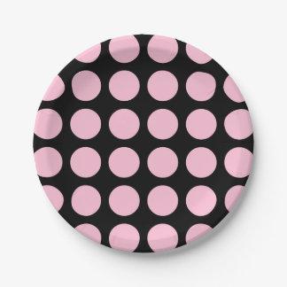 De zachte Roze Zwarte van Stippen Papieren Bordje
