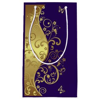 De Zak van de gift--Gouden Wervelingen & Donkere Klein Cadeauzakje