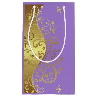 De Zak van de gift--Gouden Wervelingen & Lavendel Klein Cadeauzakje