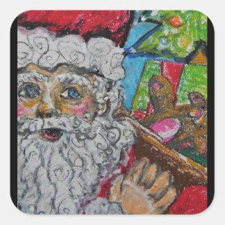 De Zak van de kerstman Vierkante Stickers