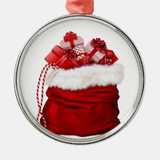 De zak van Kerstmis voor giftenrood Zilverkleurig Rond Ornament