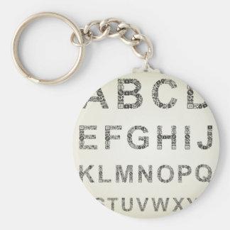 De zaken van het alfabet basic ronde button sleutelhanger