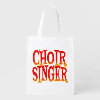 De Zanger van het koor in Heldere Kleuren Herbruikbare Boodschappentas