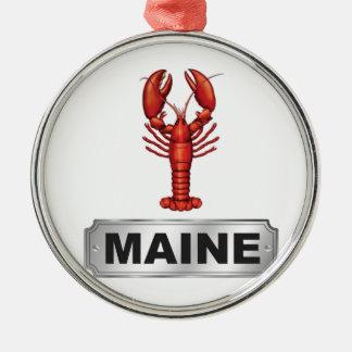 De zeekreeft van Maine Zilverkleurig Rond Ornament