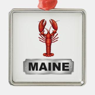 De zeekreeft van Maine Zilverkleurig Vierkant Ornament
