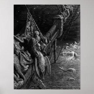 De zeeman staart op de serpenten in de oceaan poster
