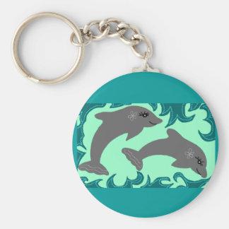 De zeer belangrijke ketting van dolfijnen basic ronde button sleutelhanger