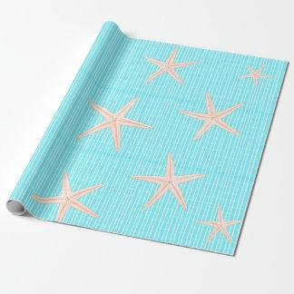 De Zeester van het koraal op Blauw Aqua Inpakpapier