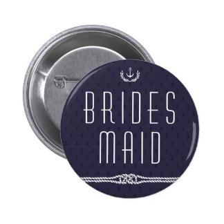 De zeevaart Blauwe Ankers van het Bruidsmeisje van Ronde Button 5,7 Cm