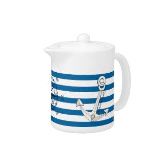 De zeevaart Blauwe en Witte Horizontale Pot van de