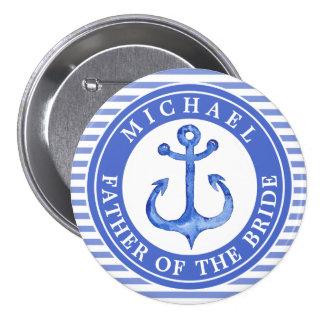 De zeevaart Blauwe Knoop van de Partij van het Ronde Button 7,6 Cm
