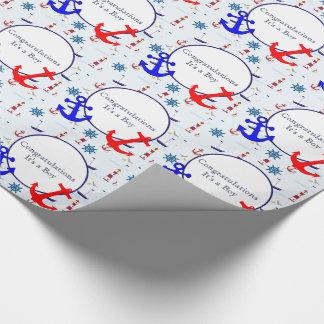 De zeevaart douche van de babyjongen cadeaupapier