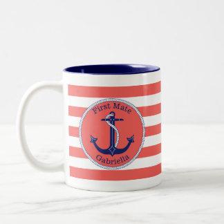 De zeevaart Eerste Gepersonaliseerde Partner van Tweekleurige Koffiemok