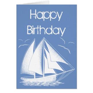 De zeevaart Gelukkige Verjaardag van de zeilboot Kaart