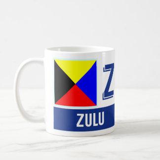 """De zeevaart Zoeloe van Vlaggen van het Alfabet """"Z"""" Koffiemok"""