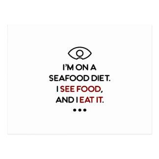 De zeevruchten zien Voedsel het eten Dieet Briefkaart