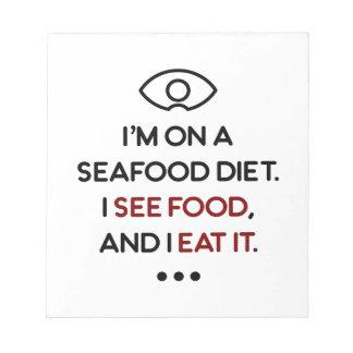De zeevruchten zien Voedsel het eten Dieet Notitieblok