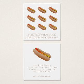 de zegel van de hotdogloyaliteit vierkant visitekaartjes