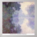 De zegen in Giverny, ochtendmist door Claude Monet Plaat