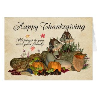 De Zegen van de Thanksgiving - Eekhoorns en Hoorn Wenskaart