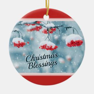 De Zegen van Kerstmis, het Heilige Schrift van het Rond Keramisch Ornament