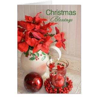 De Zegen van Kerstmis van poinsettia Kaart
