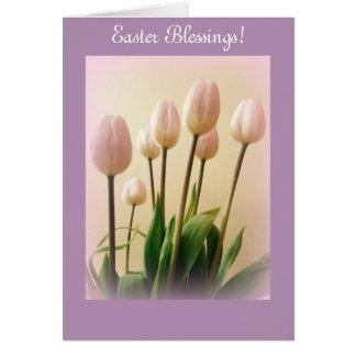 De Zegen van Pasen met de Tulpen van de Lente Wenskaart
