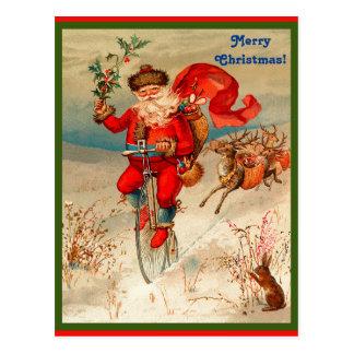 De zeldzame die Kerstman op Velocipede door Briefkaart
