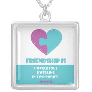 De ziel van de vriendschap & lichaamscitaat ketting vierkant hangertje