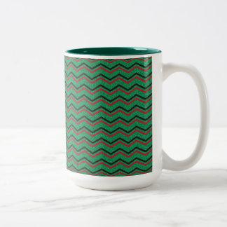 De Zigzag van de Vakantie van Glittery Tweekleurige Koffiemok