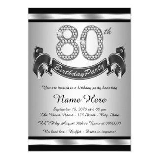 De zilveren 80ste Partij van de Verjaardag Kaart