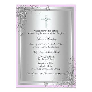 De zilveren BloemenUitnodiging van het Doopsel/van 12,7x17,8 Uitnodiging Kaart
