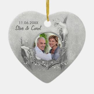 De zilveren Calla van het Jubileum Herinnering van Keramisch Hart Ornament