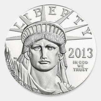 De Zilveren Dollar van de vrijheid Ronde Sticker