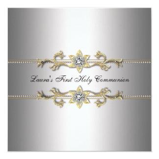 De Zilveren Eerste Heilige Communie van meisjes 13,3x13,3 Vierkante Uitnodiging Kaart