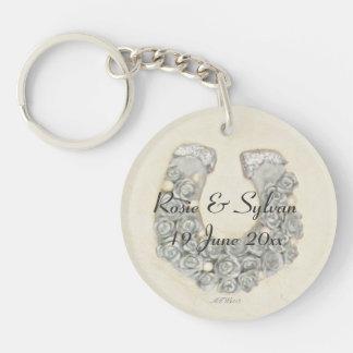 De zilveren Foto van Handfasting van het Huwelijk 2-Zijden Ronde Acryl Sleutelhanger