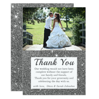 De zilveren Foto van het Huwelijk van de Fonkeling Kaart