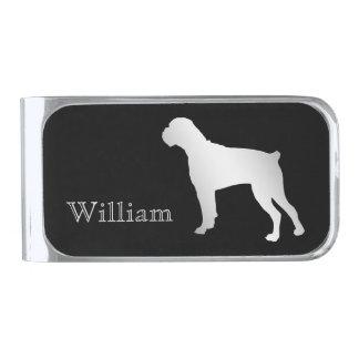 De zilveren Gepersonaliseerde Hond van de Bokser Verzilverde Geldclip