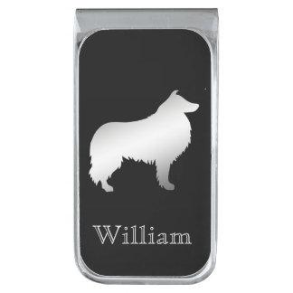 De zilveren Gepersonaliseerde Hond van de Collie Verzilverde Geldclip