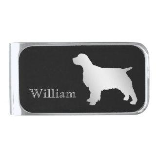 De zilveren Gepersonaliseerde Hond van het Spaniel Verzilverde Geldclip