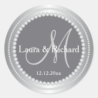 De zilveren Grijze Gepersonaliseerde Verbindingen Ronde Sticker