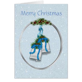 De zilveren Klokken van Kerstmis met Blauwe Linten Kaart