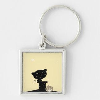 De zilveren knoop van ontwerpers met Zwarte kat Zilverkleurige Vierkante Sleutelhanger