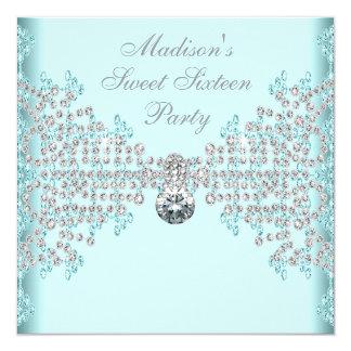 De zilveren Partij van Verjaardag 16 van Diamanten 13,3x13,3 Vierkante Uitnodiging Kaart
