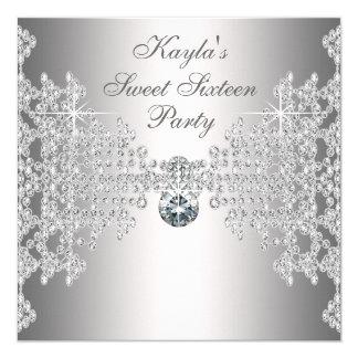 De zilveren Partij van Verjaardag Zestien van 13,3x13,3 Vierkante Uitnodiging Kaart
