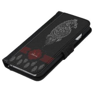 (De Zilveren) Pauw van de henna iPhone 5 Portefeuille Hoesje